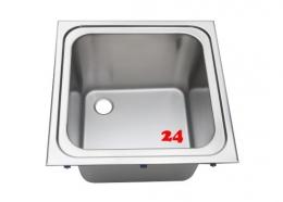 BLANCO EE 5x5-4,3 Edelstahlspüle / Gewerbebecken ohne Überlauf mit Standrohrventil für Einbau in Arbeitsplatte