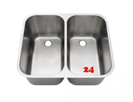 BLANCO DB 6,6x5,4 [205876] Einschweiß- / Doppelschwenkbecken für Einbau in Edelstahlarbeitsplatten Beckentiefe 2x300mm