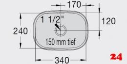 BLANCO E 3,4x2,4x1,5 [298025] Einschweißbecken für Einbau in Edelstahlarbeitsplatten Beckentiefe 150mm