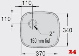 BLANCO E 3,7x3,4x1,5 ohne Überlauf [363857] Einschweißbecken für Einbau in Edelstahlarbeitsplatten Beckentiefe 150mm