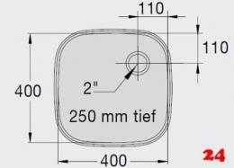 BLANCO E 4x4x2,5 ohne Überlauf [2200929] Einschweißbecken für Einbau in Edelstahlarbeitsplatten Beckentiefe 250mm