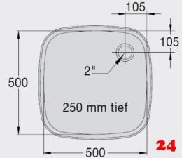BLANCO E 5x5x2,5 ohne Überlauf [2200931] Einschweißbecken für Einbau in Edelstahlarbeitsplatten Beckentiefe 250mm