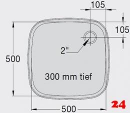 BLANCO E 5x5x3 ohne Überlauf [2200932] Einschweißbecken für Einbau in Edelstahlarbeitsplatten Beckentiefe 300mm