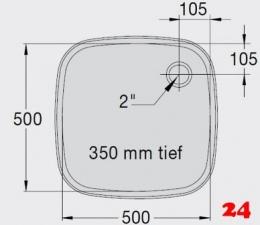 BLANCO E 5x5x3,5 ohne Überlauf [2200933] Einschweißbecken für Einbau in Edelstahlarbeitsplatten Beckentiefe 350mm