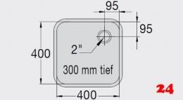 BLANCO E 4x4x3 ohne Überlauf [200930] Einschweißbecken für Einbau in Edelstahlarbeitsplatten Beckentiefe 300mm