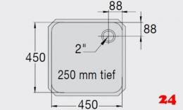 BLANCO E 4,5x4,5x2,5 ohne Überlauf [201292] Einschweißbecken für Einbau in Edelstahlarbeitsplatten Beckentiefe 250mm