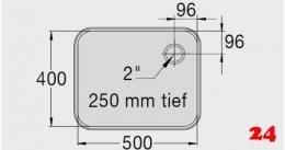 BLANCO E 5x4x2,5 ohne Überlauf [2200463]R Einschweißbecken für Einbau in Edelstahlarbeitsplatten Beckentiefe 250mm