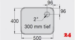 BLANCO E 5x4x3 ohne Überlauf [2208198]L Einschweißbecken für Einbau in Edelstahlarbeitsplatten Beckentiefe 300mm
