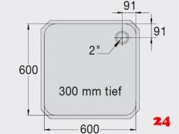 BLANCO E 6x6x3 ohne Überlauf [200936] Einschweißbecken für Einbau in Edelstahlarbeitsplatten Beckentiefe 300mm