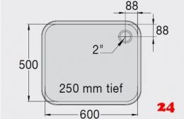 BLANCO E 6x5x2,5 ohne Überlauf [2200935]L Einschweißbecken für Einbau in Edelstahlarbeitsplatten Beckentiefe 250mm