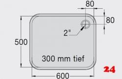 BLANCO E 6x5x3 ohne Überlauf [203570]L Einschweißbecken für Einbau in Edelstahlarbeitsplatten Beckentiefe 300mm