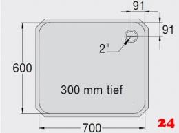 BLANCO E 7x6x3 ohne Überlauf [200938]L Einschweißbecken für Einbau in Edelstahlarbeitsplatten Beckentiefe 300mm