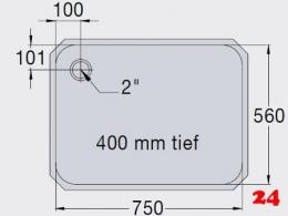 BLANCO E 7,5x5,6x4 ohne Überlauf [200939] Einschweißbecken für Einbau in Edelstahlarbeitsplatten Beckentiefe 400mm