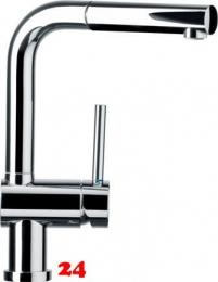 SCHOCK Küchenarmatur Piega Chrom Einhebelmischer mit Zugauslauf 360° schwenkbarer Auslauf mit Schlauchbrause