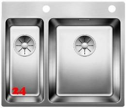 BLANCO Küchenspüle Andano 340/180-IF/A Edelstahlspüle / Einbauspüle Flachrand mit Ablaufsystem InFino und PushControl