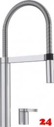 BLANCO Culina-S Duo Edelstahl Seidenglanz 2-Loch Einhebelmischer / Spültischarmatur mit flexibler Pendelbrause
