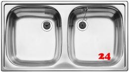 BLANCO Küchenspüle TOP ED 8x4 ohne Hahnlochbohrung Edelstahlspüle / Doppelbecken Ablauf mit Gummistopfen