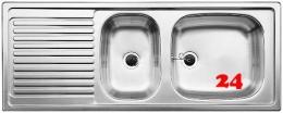 BLANCO Küchenspüle TOP EZS 11x4 ohne Hahnlochbohrung Edelstahlspüle / Einbauspüle Ablauf mit Gummistopfen