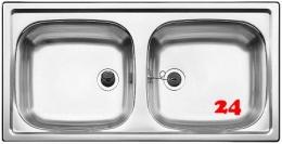 BLANCO Küchenspüle TOP EZ 8x4 ohne Hahnlochbohrung Edelstahlspüle / Doppelbecken Ablauf mit Gummistopfen