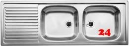 BLANCO Küchenspüle TOP EZS 12x4-2 ohne Hahnlochbohrung Edelstahlspüle / Einbauspüle Ablauf mit Gummistopfen