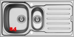 PYRAMIS Küchenspüle Vera (100x50) 1 1/2B 1D Einbauspüle / Edelstahlspüle Siebkorb als Drehknopfventil
