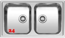 REGINOX Küchenspüle Centurio L20 Einbauspüle Edelstahl Doppelbecken mit Flachrand Siebkorb als Stopfenventil