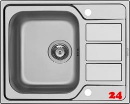 PYRAMIS Küchenspüle Athena (62x50) 1B 1D Einbauspüle / Edelstahlspüle Siebkorb als Drehknopfventil