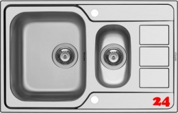[LAGER] PYRAMIS Küchenspüle Athena Extra (79x50) 1 1/2B 1D Einbauspüle / Edelstahlspüle Siebkorb als Drehknopfventil