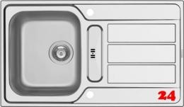 PYRAMIS Küchenspüle Athena (86x50) 1 1/4B 1D Einbauspüle / Edelstahlspüle Siebkorb als Drehknopfventil