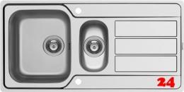 PYRAMIS Küchenspüle Athena Extra (100x50) 1 1/2B 1D FB Einbauspüle Flachrand / Flächenbündig Siebkorb als Drehknopfventil