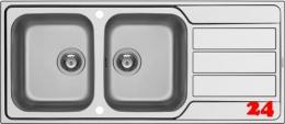 PYRAMIS Küchenspüle Athena Extra (116x50) 2B 1D Einbauspüle / Doppelspüle Siebkorb als Drehknopfventil