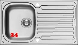 PYRAMIS Küchenspüle Amaltia (86x50) 1B 1D Einbauspüle / Edelstahlspüle Siebkorb als Drehknopfventil