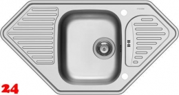 PYRAMIS Küchenspüle Medusa Corner 1B 2D Einbauspüle / Eckspüle Siebkorb als Drehknopfventil
