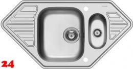 PYRAMIS Küchenspüle Medusa Corner 1 1/2B 2D Einbauspüle / Eckspüle Siebkorb als Drehknopfventil