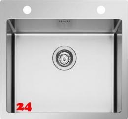 PYRAMIS Küchenspüle Istros FB (55x51) 1B HLB Einbauspüle Flachrand / Flächenbündig mit Drehknopfventil