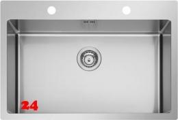 PYRAMIS Küchenspüle Istros FB (75,5x51) 1B HLB Einbauspüle Flachrand / Flächenbündig mit Drehknopfventil