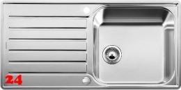 BLANCO Küchenspüle Lantos XL 6 S-IF Edelstahlspüle / Einbauspüle Flachrand Siebkorb als Drehknopfventil