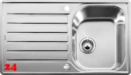 BLANCO Küchenspüle Lantos 45 S-IF Salto Edelstahlspüle / Einbauspüle Flachrand mit Siebkorb als Drehknopfventil