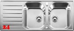 {LAGER} BLANCO Küchenspüle Lantos 8 S-IF Compact Edelstahlspüle / Einbauspüle Flachrand mit Siebkorb als Drehknopfventil