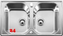 BLANCO Küchenspüle Lantos 8-IF Edelstahlspüle / Doppelspüle Flachrand mit Siebkorb als Drehknopfventil