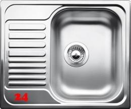 BLANCO Küchenspüle Tipo 45 S Mini ohne Hahnlochbohrung Edelstahlspüle mit Siebkorb als Stopfenventil