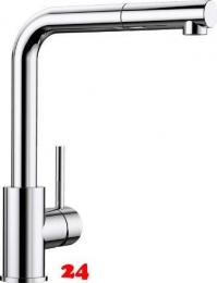 BLANCO Küchenarmatur Mila-S Chrom Einhebelmischer / Spültischarmatur mit Zugauslauf 360° schwenkbarer Auslauf