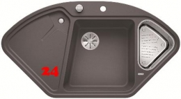 BLANCO Eckspüle Delta II-F Silgranit® PuraDur®II Granitspüle Flächenbündig Ablaufsystem InFino mit Drehknopfventil