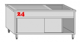 AfG Spültisch (1400x700) auf Unterbau VLA1147R-BR Gewerbespüle mit verschweißtem Untergestell