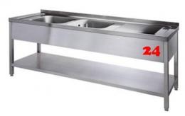 AfG Spültisch (2000x700) auf Unterbau VL2207L-BL Gewerbespüle mit verschweißtem Untergestell und Boden