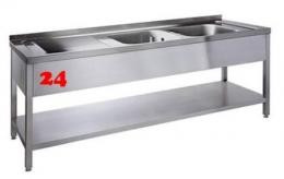AfG Spültisch (2000x700) auf Unterbau VL2207R-BR Gewerbespüle mit verschweißtem Untergestell und Boden