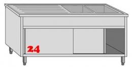 AfG Spültisch (1500x600) auf Unterschrank VLA2156R-BR Gewerbespüle mit Untergestell, Boden und Türen