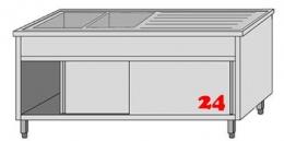 AfG Spültisch (1600x700) auf Unterschrank VLA2167L-BL Gewerbespüle mit Untergestell, Boden und Türen