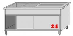 AfG Spültisch (2000x700) auf Unterschrank VLA2207L-BL Gewerbespüle mit Untergestell, Boden und Türen