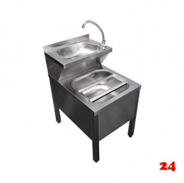 AfG Ausguß-Handwaschbecken Kombi. AHK-6085 verschweißte Ausführung mit Mischbatterie und Klapprost